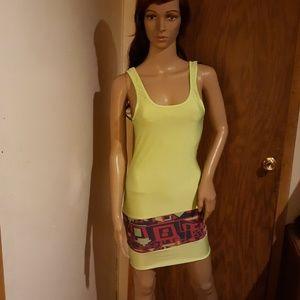 Womens Bodycon Dress Green Tribal Print Bodycon S
